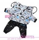 "Lim010661-2 Raincoat ""Moustache"" blue/black"