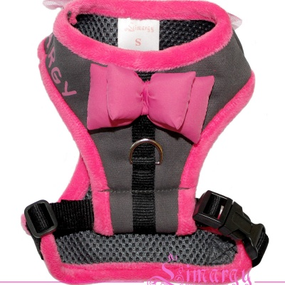 Lim04004-3 Harness Bow grey/pink